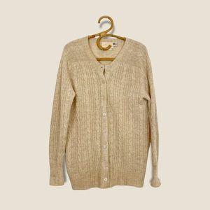 Vintage   Eaton   Tan Wool Knit Cardigan